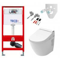 Крышка-биде TOTO Washlet GL 2.0 (TCF6532G) с подвесным унитазом TOTO NC (CW762Y) и инсталляцией TECE